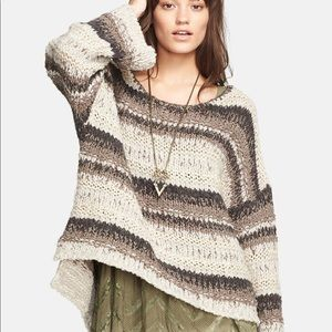 Free People Slouchy Neutral Combo Sweater NWT!